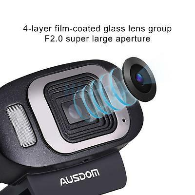 AUSDOM 1920x1080 Full HD Autofocus Webcam Network Camerawith Mic for PC New