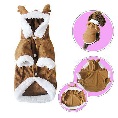 Christmas Warm Winter Deer Jumpsuit Coat Clothes Costume For Pet Dog Puppy