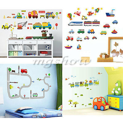 Children Transport Vehicles Cars Wall Stickers Decals Nursery Boys Kids Room HOT