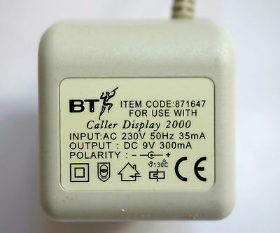 BT 871647 Power Adaptor for Caller Display 2000 Unit.