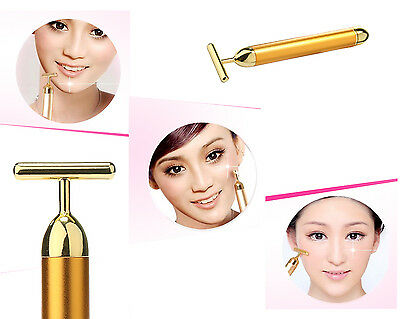 Beauty Anti-Aging Bar 24K Golden Pulse Skin Care Facial Roller Massager New