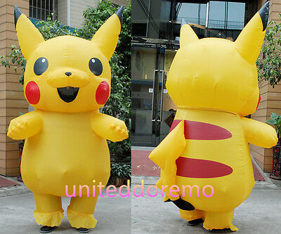 Pokemon GO Adult Pikachu Inflatable Costume Cosplay Halloween Funny Dress Outfit