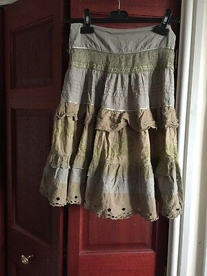 Two Green 100% Cotton Flared Girls Summer Skirts Age 7-9 & 8-9