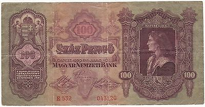 1930 Hungary 100 Pengo Banknotes Circulated 043120