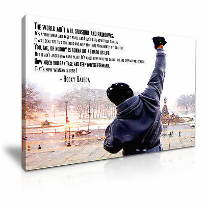 Rocky Balboa Quote Sylvester Stallone Canvas Wall Art Picture Print 76x50cm