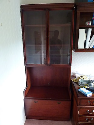 Mahogany Bookcase / Display Cabinet With Glass Doors & Pull Down Cupboard