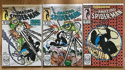 Amazing Spider-Man 298, 299 & 300 all first issue, all NM, 1st Venom appearance
