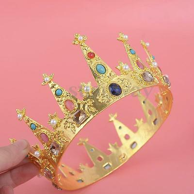 6cm High Princess Girl Crystal Gold Crown Wedding Prom Pageant Tiara Jewelry