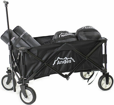 Andes Black Collapsible Portable Folding Camping Wagon Cart Festival Trolley