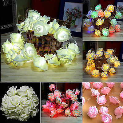 20-100 LED String Rose Flower Fairy Lights Indoor Christmas Party Bedroom Decor