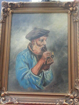 Final price Antique Man with pipe.Oil painting.Singed (1800-1900)