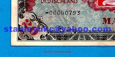 """EX RARE REPLACEMENT NOTE """" - 0 0"""" & """" f """"Germany P195 20 Mark USA AMC 1944 XF+"""
