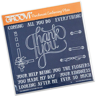 CLARITY STAMP GROOVI Parchment Embossing Plate THANK YOU GRO-WO-40273-03