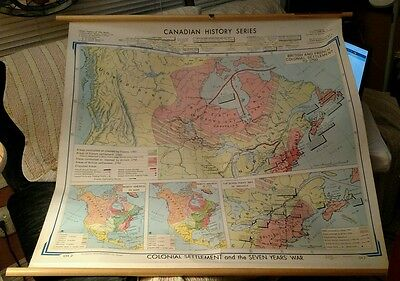 Canada School Map CH2 Pull Down wall Vintage Canadian history series 1968