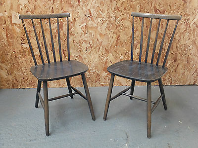 Pair of Green Washed Midcentury Danish Beech Dining Kitchen Chairs  (20C857)