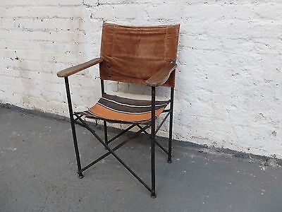 Vintage Folding Metal Framed Director's Chair with Wooden Arms (20C968)