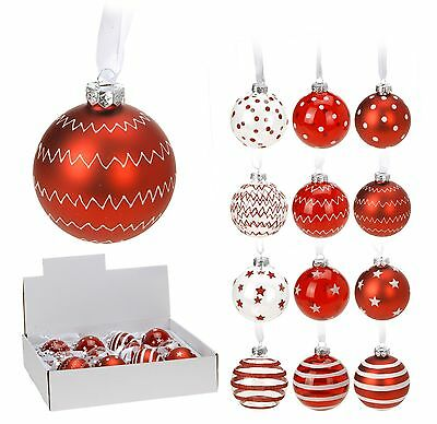 Box of 12 Real Glass Red Christmas Tree Decorations 70mm Glass Christmas Baubles