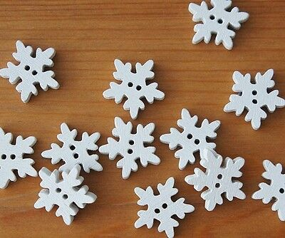 Wooden White Snowflake Buttons 4 Sewing, Scrapbooking, cardmaking