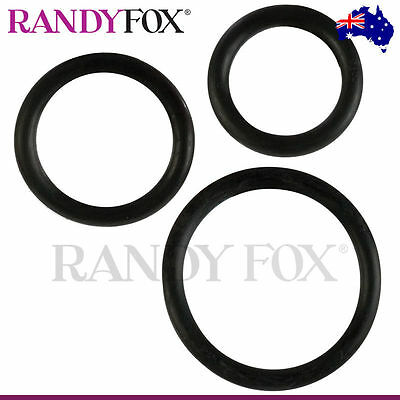 Black Rubber Cock Ring 3 Piece Set - California Exotic