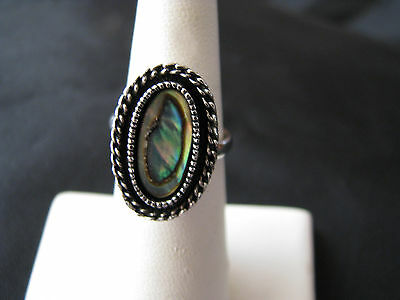 "Vintage Avon Abalone Silvertone 5"" Adjustable Ring Signed"
