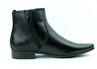 Mens Chelsea Leather Style Boots Zip Up Ankle Boots Formal Casual Black Brown