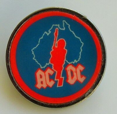 AC/DC OLD METAL PIN BADGE FROM THE 1980's VINTAGE RETRO ANGUS GUITAR AUSTRALIA