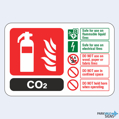 CO2 Fire Extinguisher ID Sign (landscape)