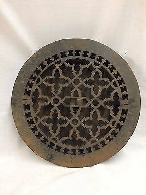 "Antique Cast Iron Round Floor Heat Grate Register Old Gothic Vtg 10"" 2066-16"