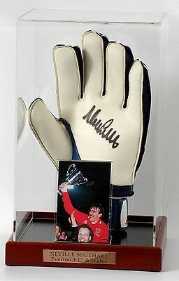 NEVILLE SOUTHALL Hand Signed Goalkeepers Glove EVERTON WALES Photo Proof AFTAL