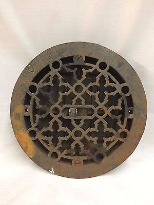 "Antique Cast Iron Round Floor Heat Grate Register Old Gothic Vtg 8"" 2068-16"