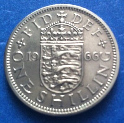 1966 Queen Elizabeth Ii English One Shilling Coin