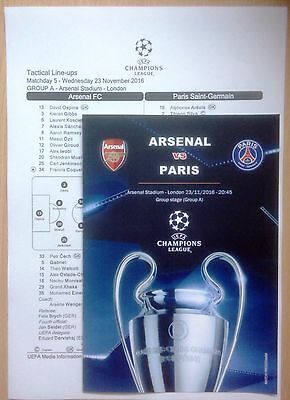 ARSENAL London England PSG Paris France 2016 CHL programm + official linesup