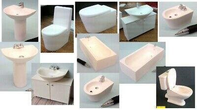 1:12 dolls house miniature modern white  bathroom fixtures 10 to choose from.