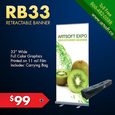 """33.5"""" WIDE RETRACTABLE Banner Stand + FREE PRINT"""