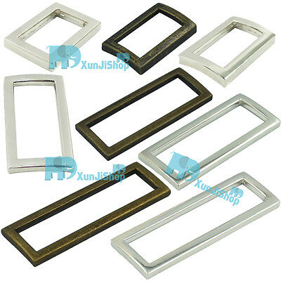 "Rectangle Metal Square Ring Webbing Belt Ribbon Buckles 2"" 1.5"" 1.25"" 1"" 18 25mm"