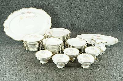 Vintage Edelstein Bavaria White Porcelain Service Set With Flowers And Gold Trim
