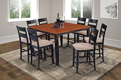 54 Square Counter Height Table Dining Room Set In Black