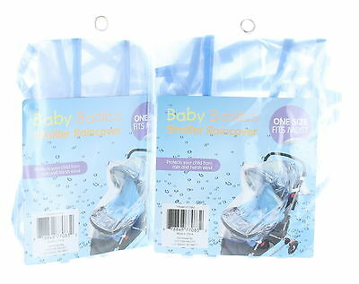 Lot of 2 Clear Baby Stroller Rain Covers Weather Shield
