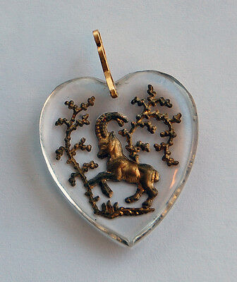Vintage Glass Zodiac Astrology Heart Pendant Clear Intaglio 30mm • Many Signs