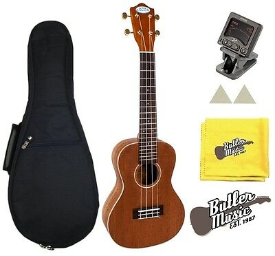 Lanikai LM-C Solid Mahogany Concert Size Ukulele w/Clip-on Tuner Gigbag and More