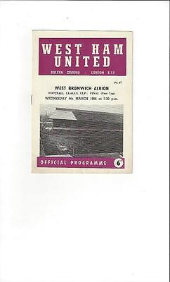 West Ham United v West Bromwich Albion League Cup Final 1966 Football Programme