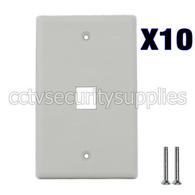 10 x Plastic Face Plate Cover 1 Port Wall Plate 1 Gang 2 Free Screws White