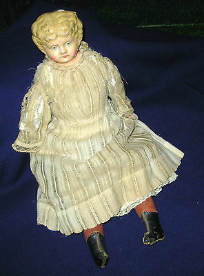 antique German Hair Stuffed Paper Mache and cloth doll 15 in missing arm Germany