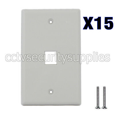 15 x Plastic Face Plate Cover 1 Port Wall Plate 1 Gang 2 Free Screws White