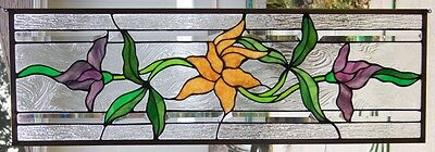 Stained Glass window transom/sidelight hanging 35 1/2 X 11 3/4
