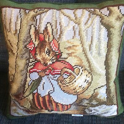Beatrix Potter Mrs. Rabbit Completed Needlepoint Pillow With Label