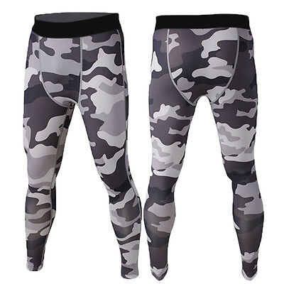Mens Compression Long Pants Under Base Layers Armour Skin Tights Activewear Camo