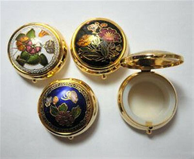 """(10) Cloisonne Enamel Round Hinged Pill Boxes 1 1/2"""" x 3/4"""" with Plastic Insert"""