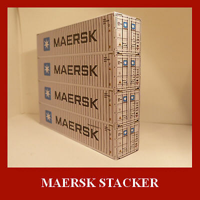 Maersk Model Railway OO 1:76 Gauge Stack 4 Shipping Containers Card Kit x 4 ALL