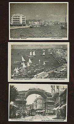 3 Real Photo Postcards~Thessaloniki Salonique Greece~1930s or 1940s